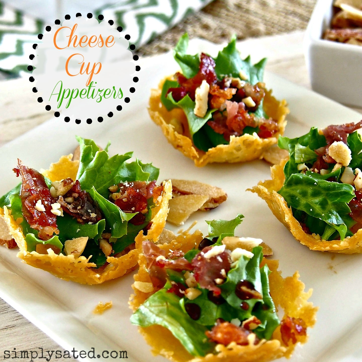 Beautiful Cheese Cup Appetizers to fill with your favorite ingredients. www.simplysated.com