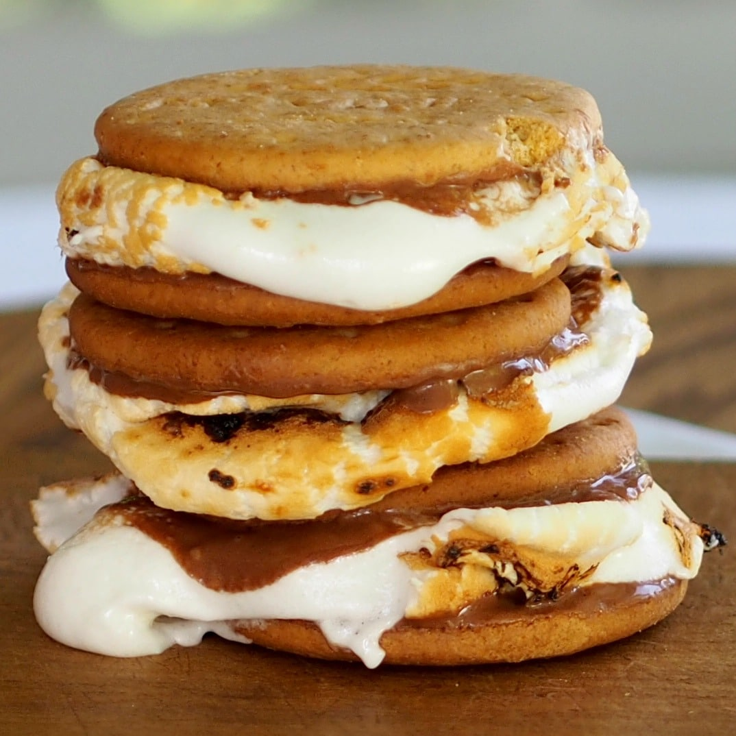 Easy S'mores are easier to make using milk chocolate Digestives . They taste just like the original but with less mess. Sated Sated