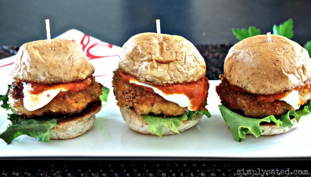 Turkey Parmesan Sliders, the perfect healthy sandwich! SO good! - Simply Sated