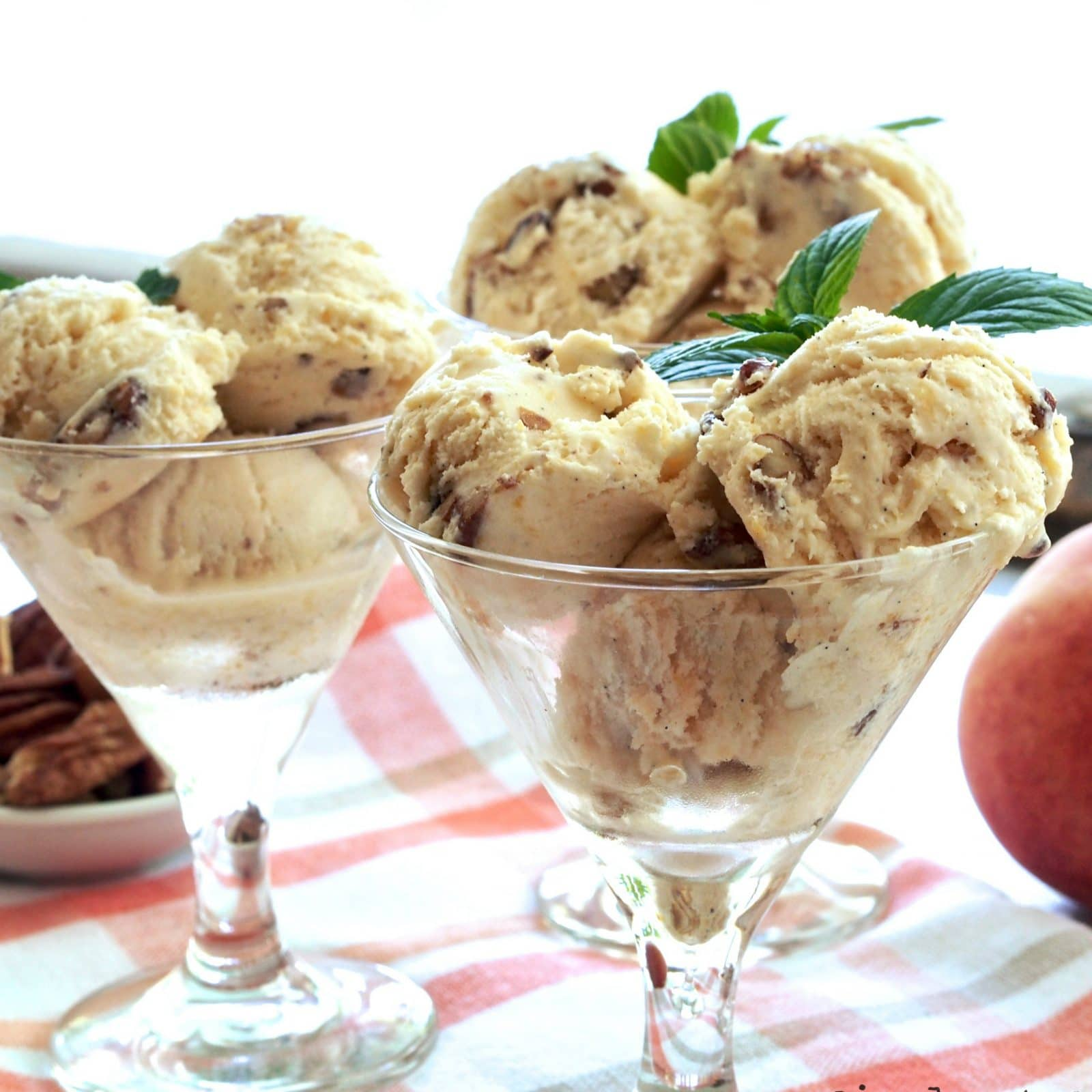 Butter Pecan Peach Ice Cream is peachy, crunchy, creamy, salty and sweet. It has something for everyone. www.simplysated.com