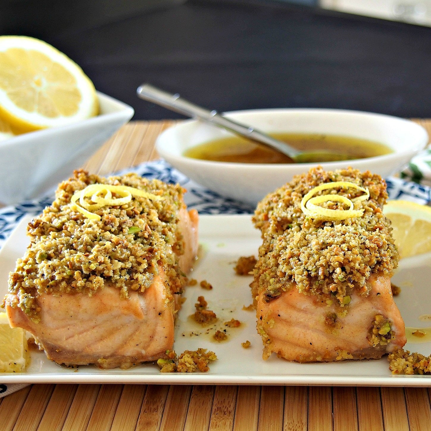 Salmon topped with a honey, lemon glaze then topped with a mixture of pistachios & panko crumbs.  So delicious and satisfying.