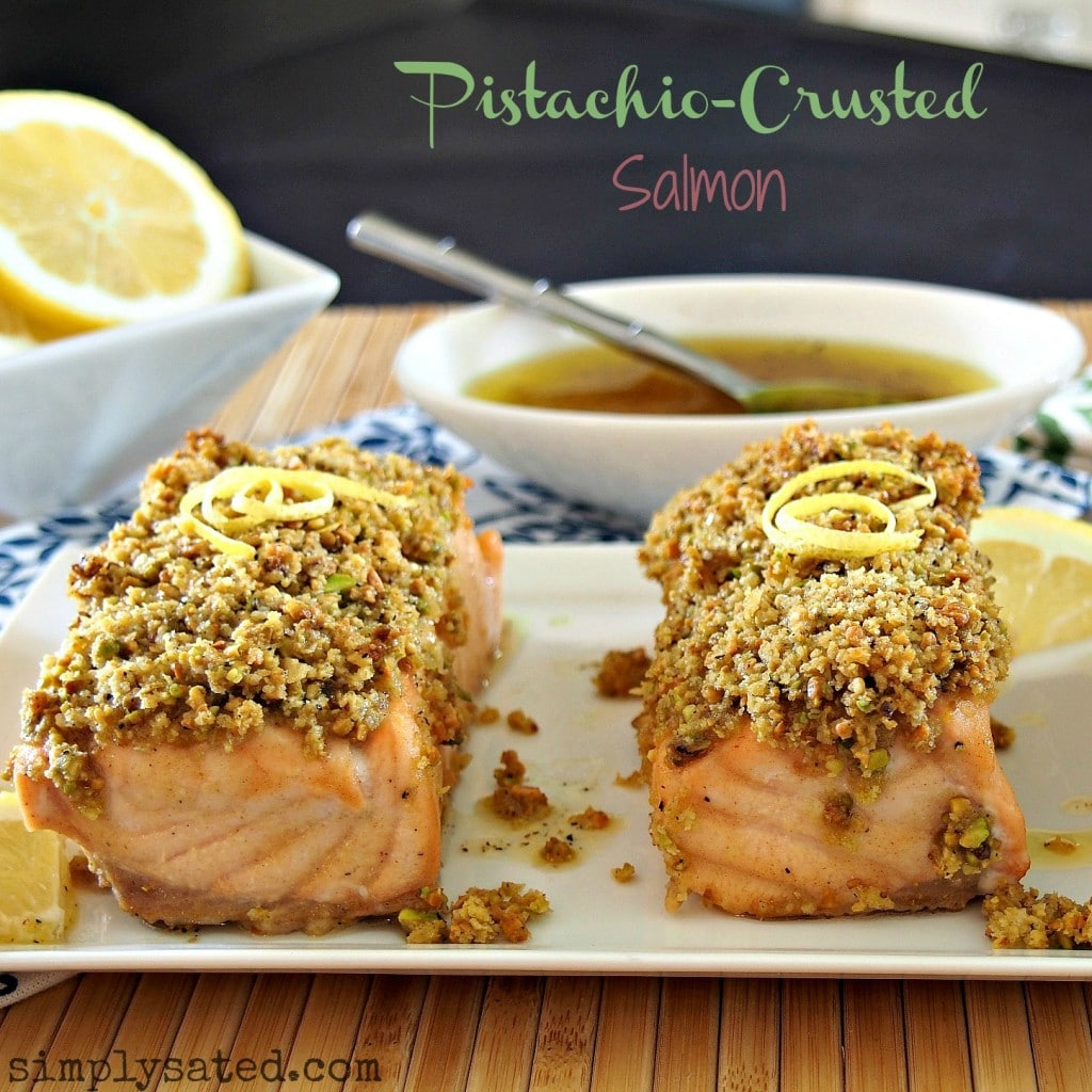 Pistachio-Crusted Salmon - www.simplysated.com