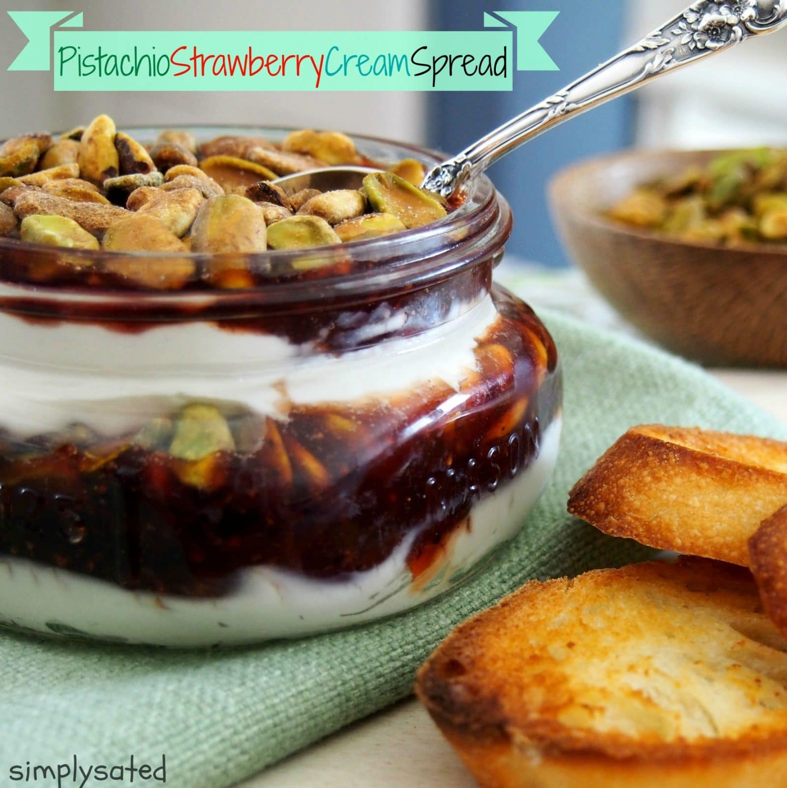 Pistachio Strawberry Cream Spread. Toasted pistachios, strawberry jam & cream cheese is a delicious sweet, salty creamy party or crowd pleaser. Spread on crostini or crackers for the perfect snach anytime.