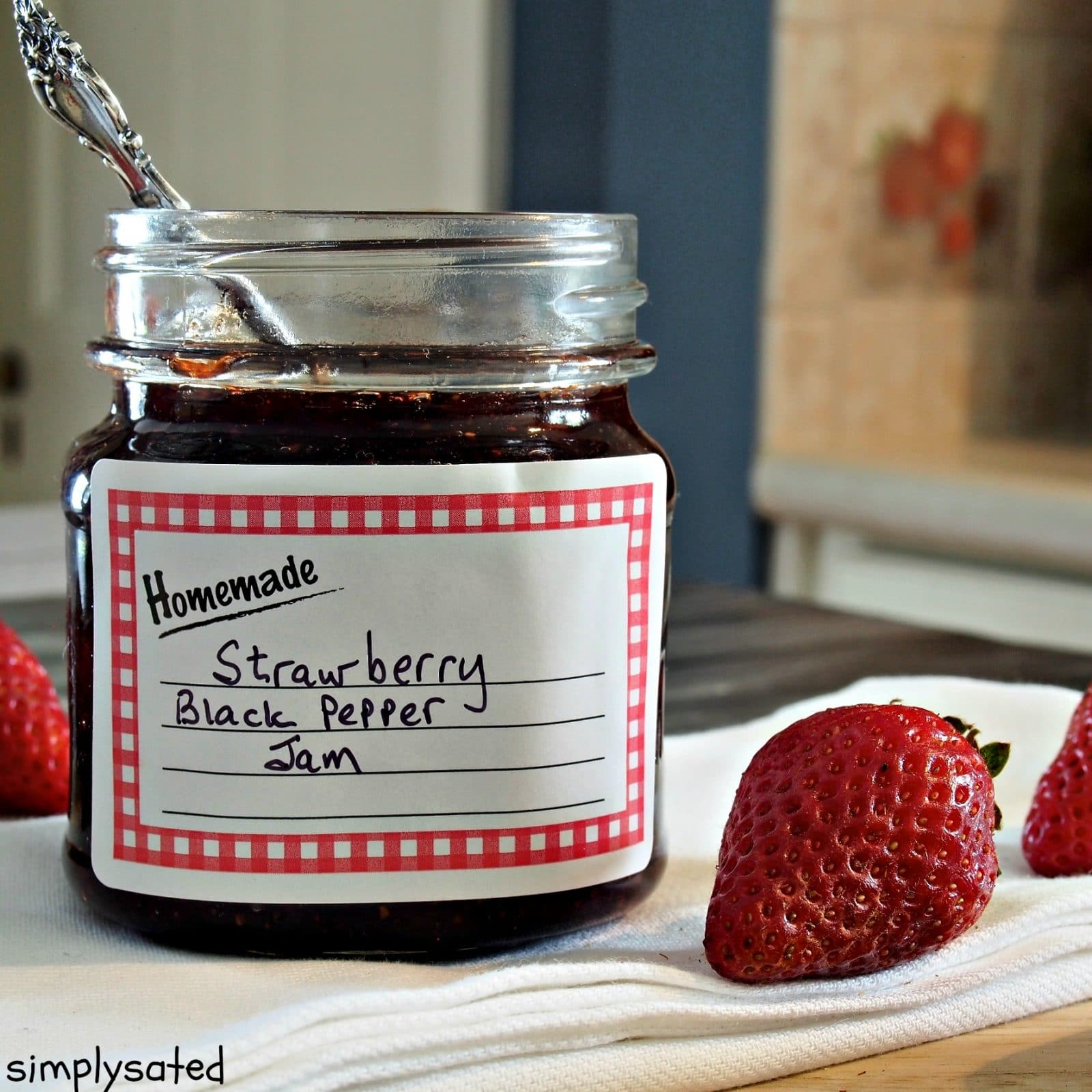 Strawberry, Black Pepper Jam - the perfect strawberry jam infused with just enough black pepper to spice things up. www.simplysated.com