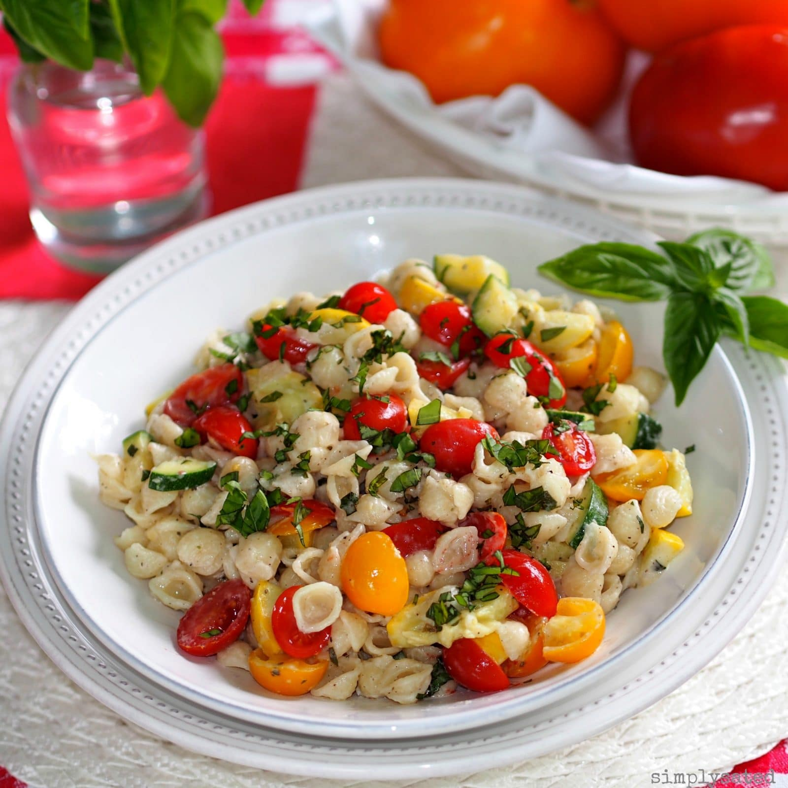 Summer Pasta Salad with Boursin is a flavor-packed pasta salad including zucchini, yellow squash, tomatoes, basil and Boursin cheese. Make for a whole meal or a side.