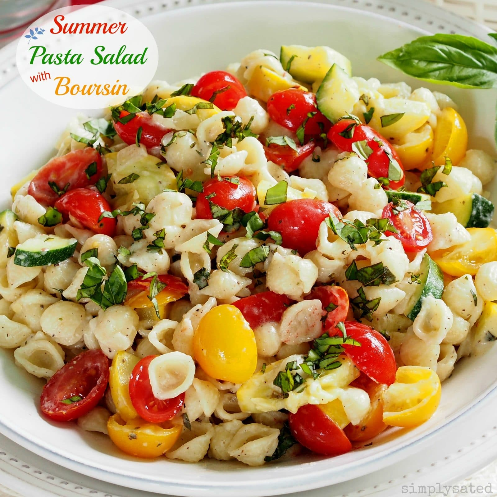 flavor-packed pasta salad including zucchini, yellow squash, tomatoes ...