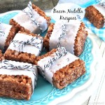Bacon Nutella Krispies - krispie treats pumped up with the addition of chocolate hazelnut and bacon - a fun twist on a traditional dessert.