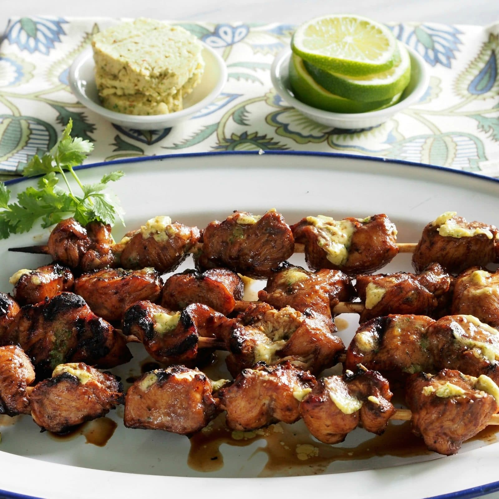 Grilled Chicken with Cilantro Lime Honey Butter has flavors from the Southwest, Mediterranean and Jamaica made extra special topped with cilantro honey butter. www.simplysated.com
