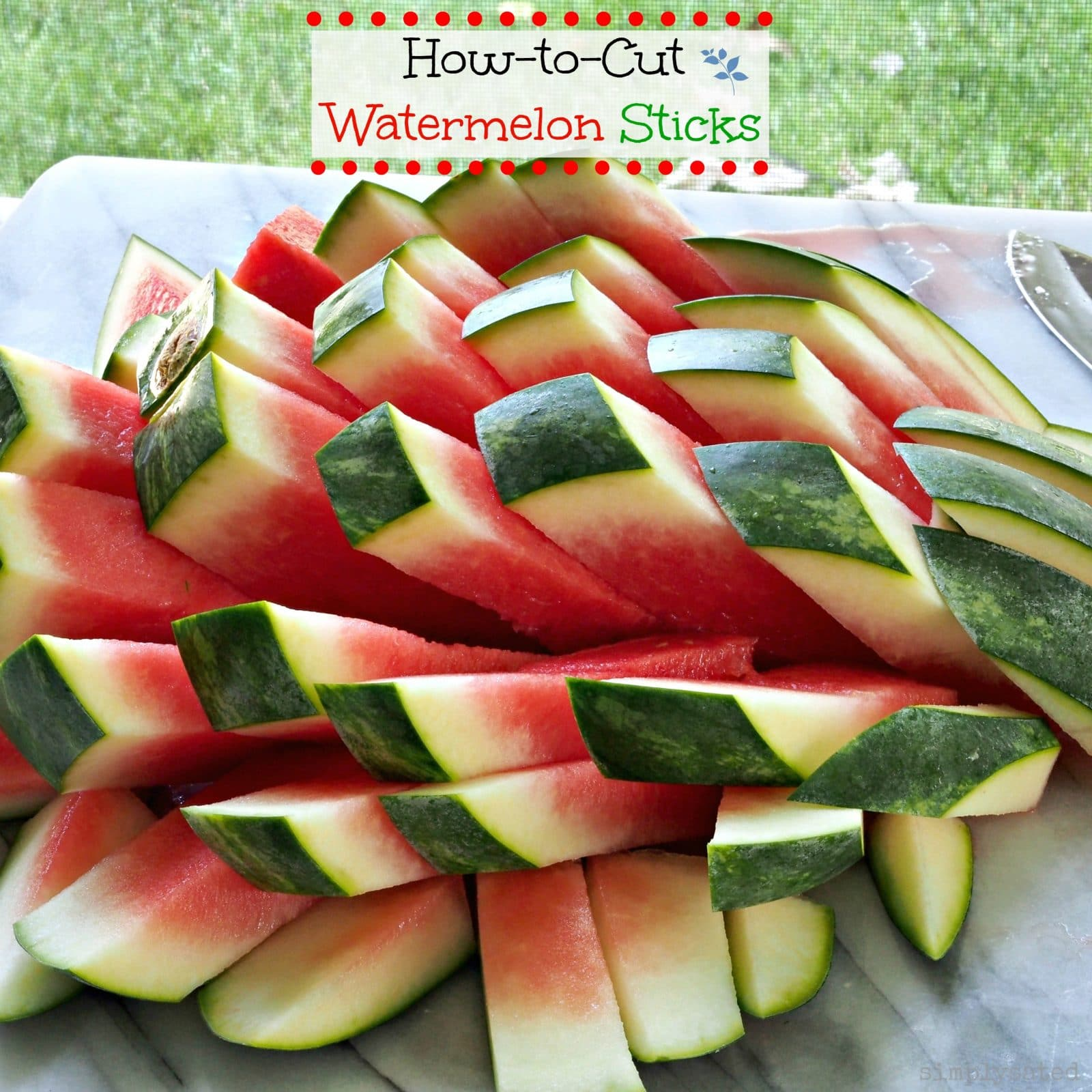 How-to-Cut Watermelon Sticks. Follow this easy four-step process for cutting watermelon sticks then serve them at an elegant dinner party or backyard barbecue.