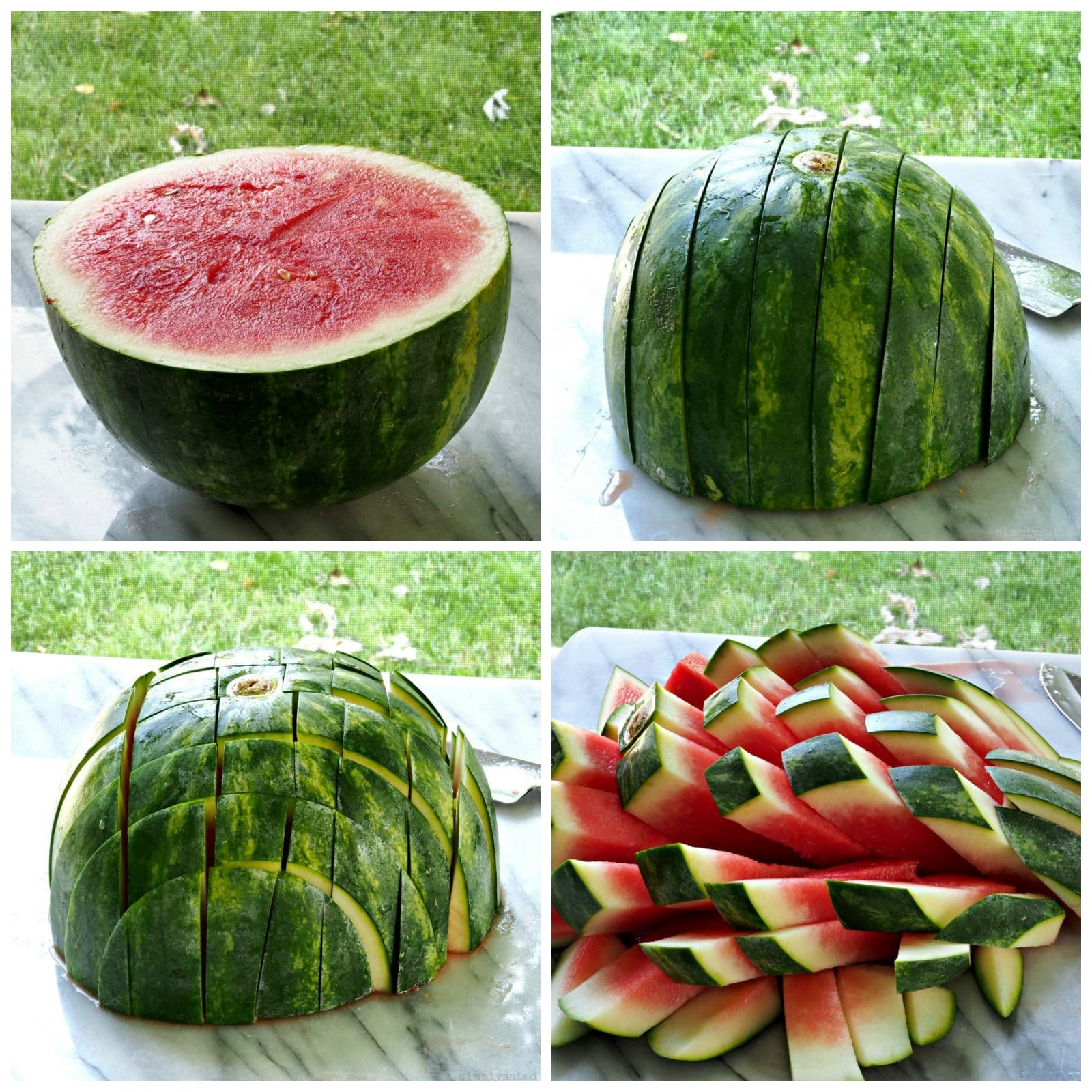How to cut watermelon sticks for What to serve at a bbq birthday party
