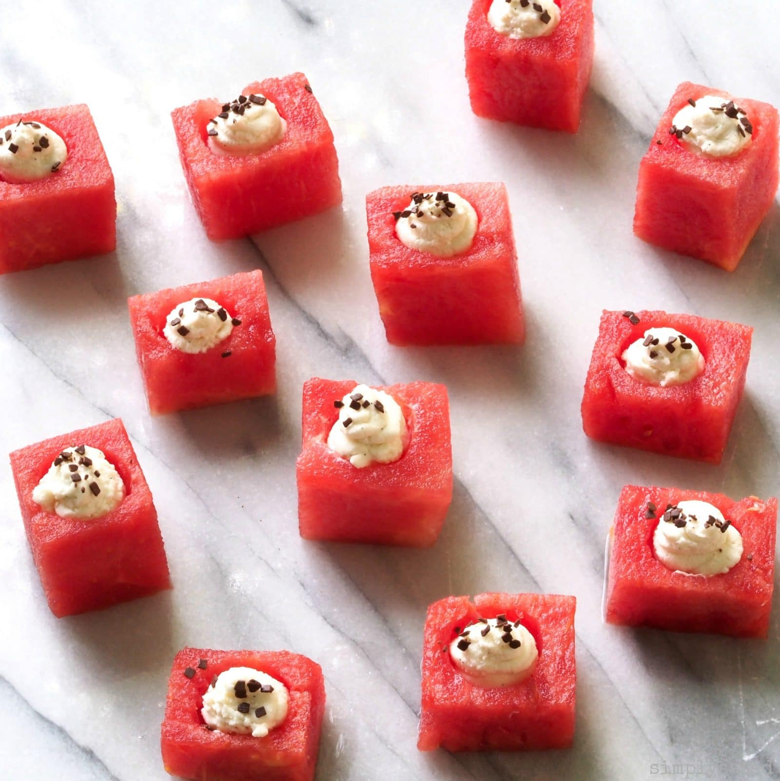 Watermelon with Mascarpone is healthy, light with a surprise in every bite. And it is a fun & delicious twist on serving this seasonal treat.