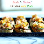 Peach & Shrimp Crostini with Pesto is an easy, elegant appetizer. Perfect for family or friends. www.simplysated.com