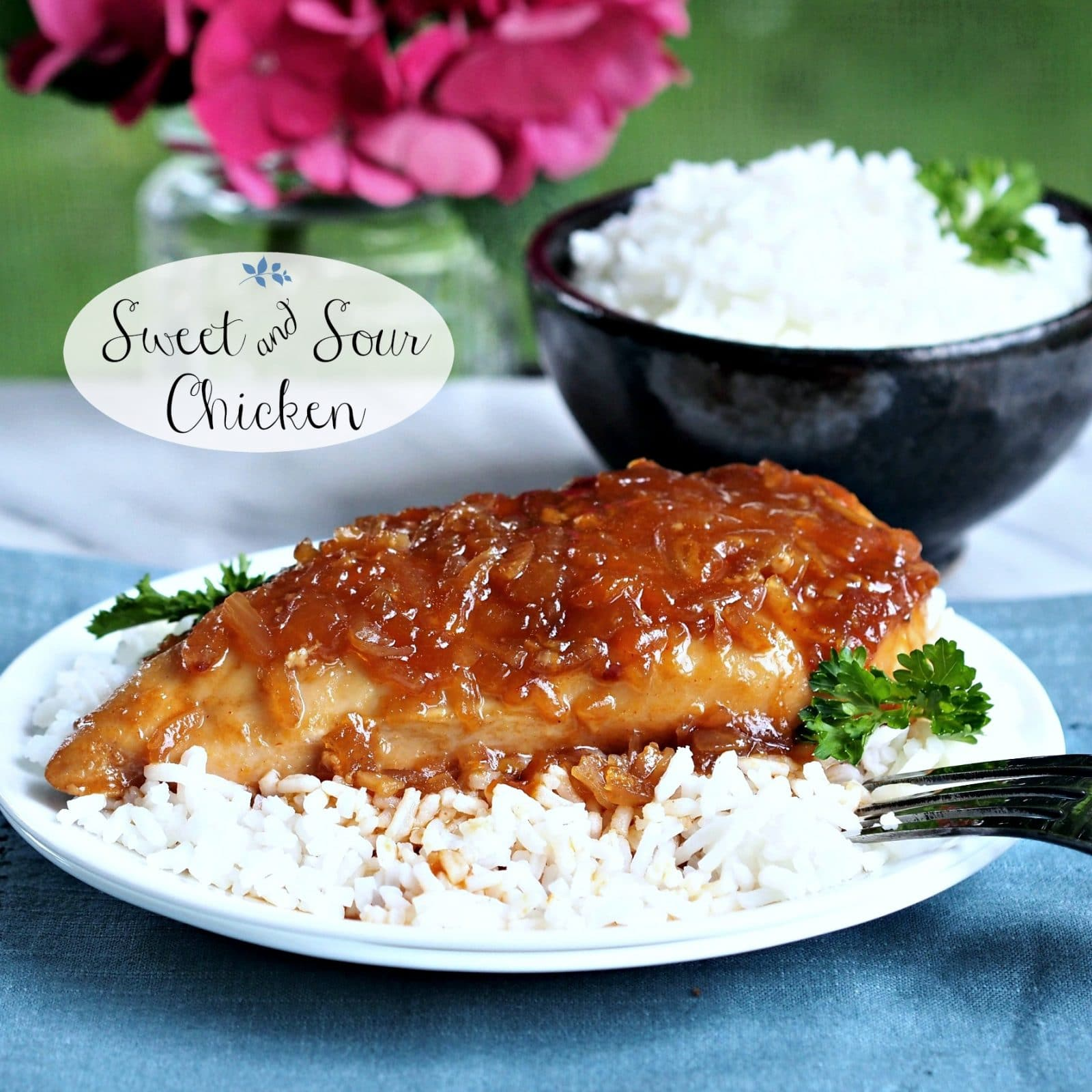 Sweet & Sour Chicken.  Combine chicken with Lipton Dry Onion Soup Mix & a few other ingredients to create this delicious entree. www.simplysated.com