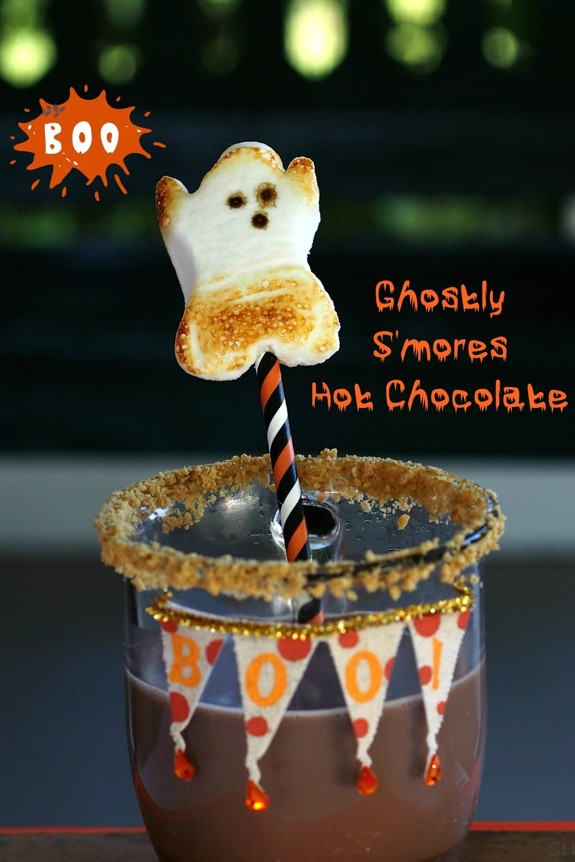 Ghostly S'mores Hot Chocolate - Surprise your guests with this fun drink at your next Halloween party or event. S'mores, hot chocolate & Ghost Peeps. simplysated