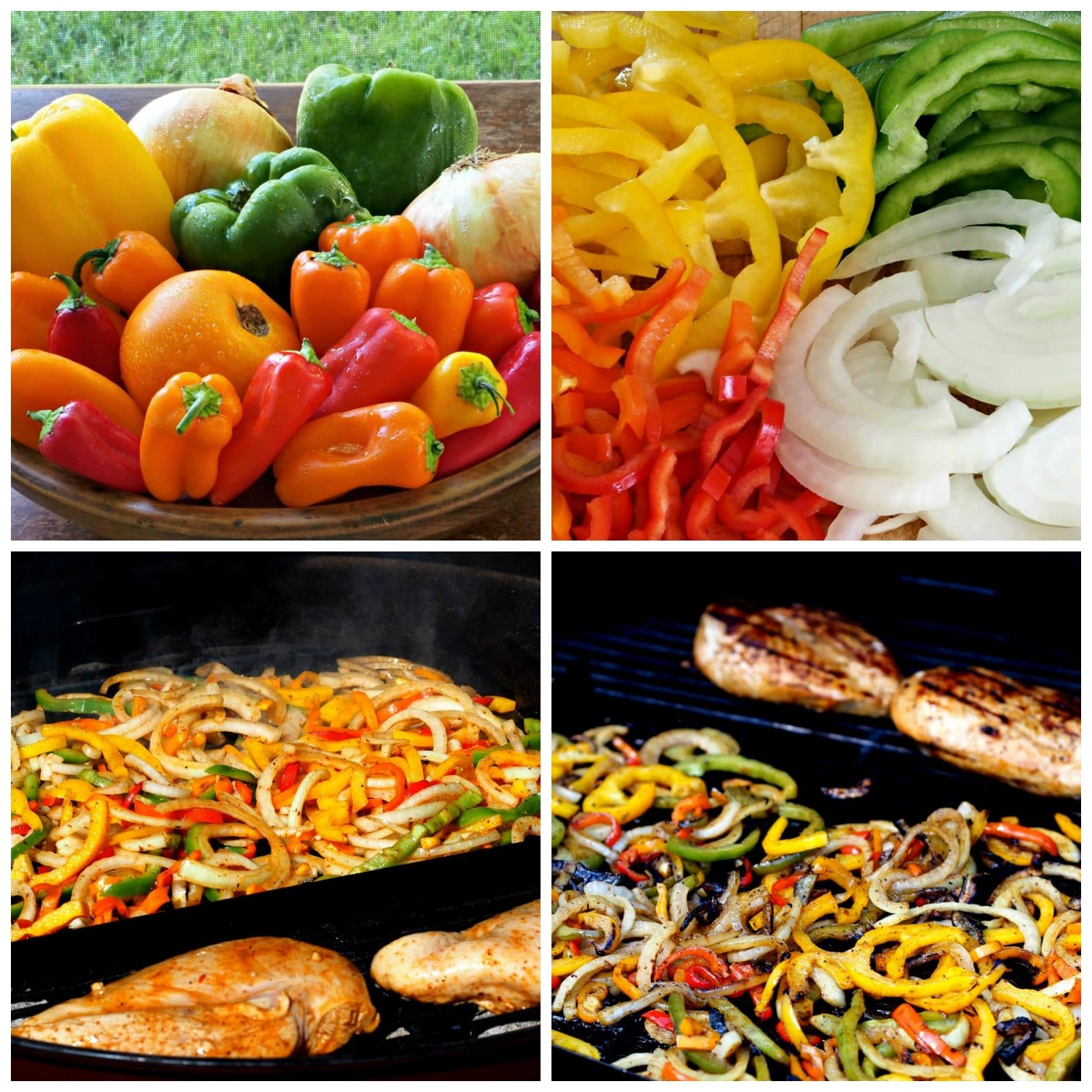 Chicken Fajitas - fresh vegetables & tender chicken seasoned perfectly then grilled. Simply Sated