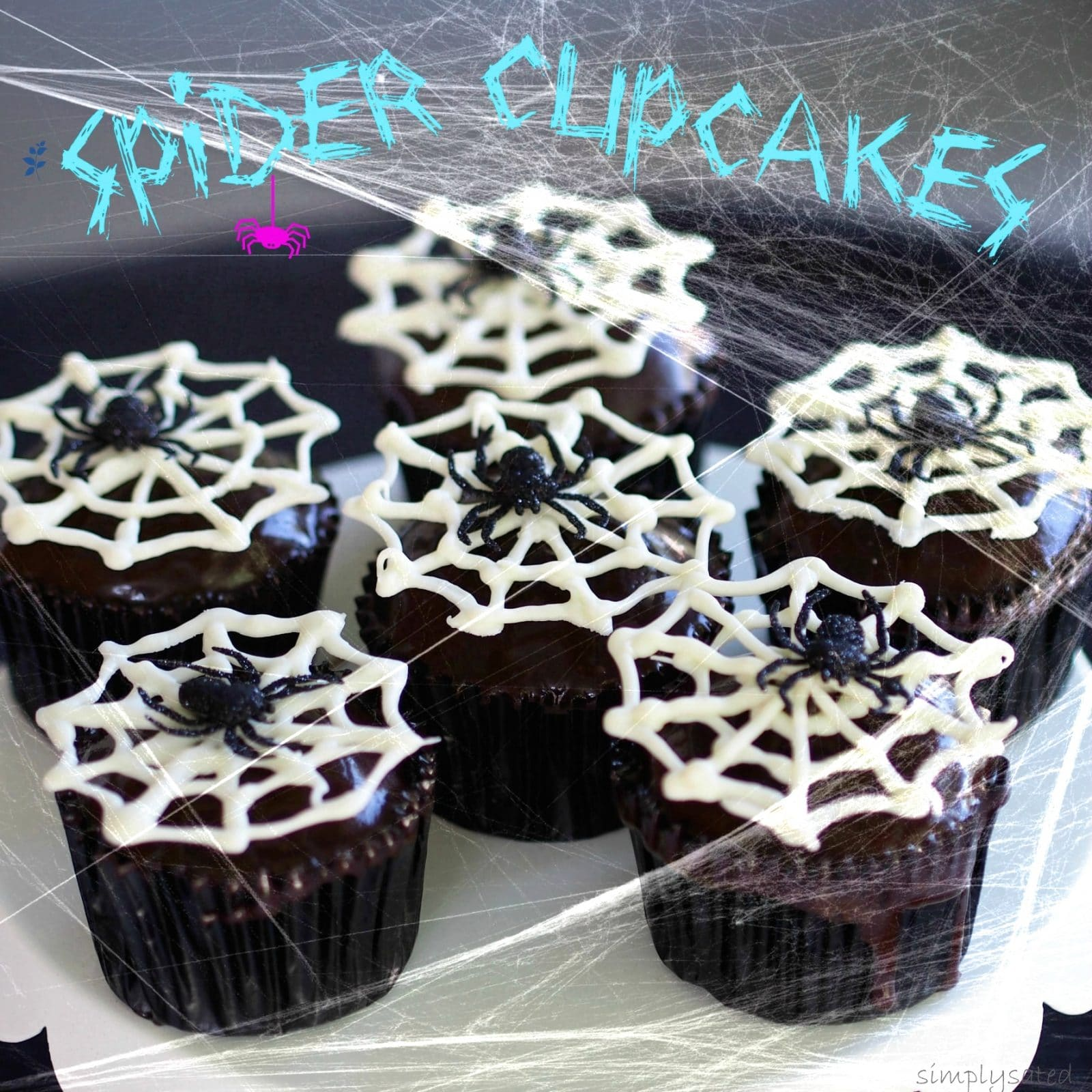 Spider Cupcake; use box cake mix & canned icing to make this easy & creepy, crawly Halloween treat. simplysated