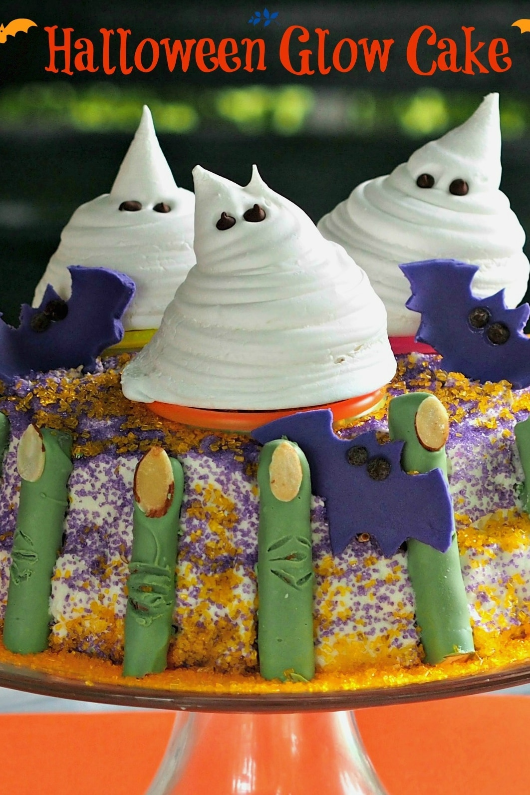 Halloween Glow Cake-lots of fun treats come together to create a dessert all guests will love. simplysated
