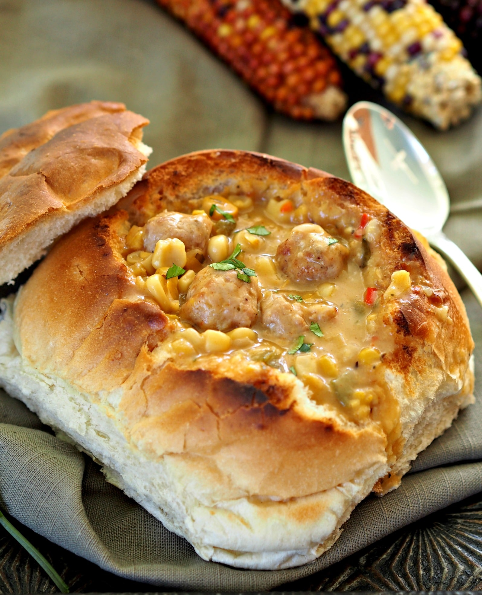 Italian Sausage & Corn Chowder - a soup that wraps you in its warmth – like being hugged from the inside. simplysated