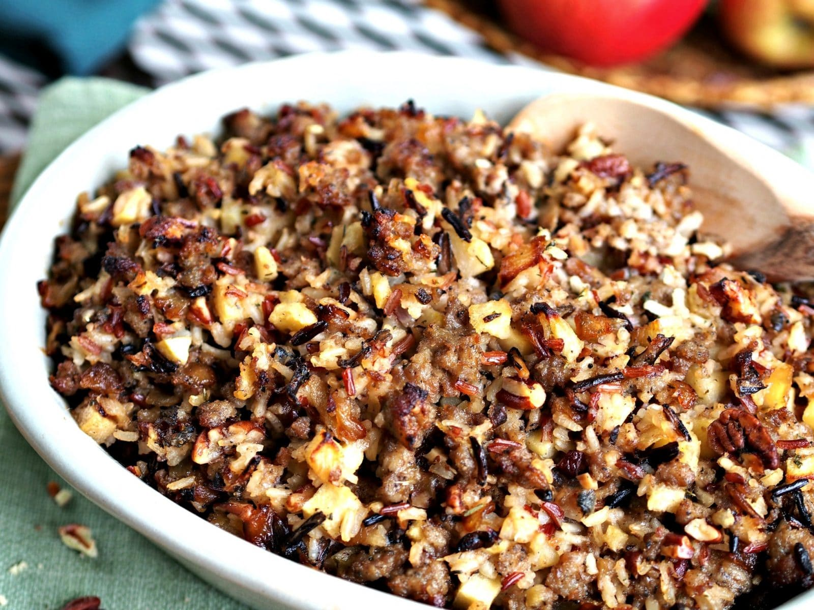 Wild Rice, Jones Sausage & Apple Stuffing is not just for Thanksgiving. Wild rice, sausage, apples, pecans & a splash of Southern Comfort - perfection. simplysated