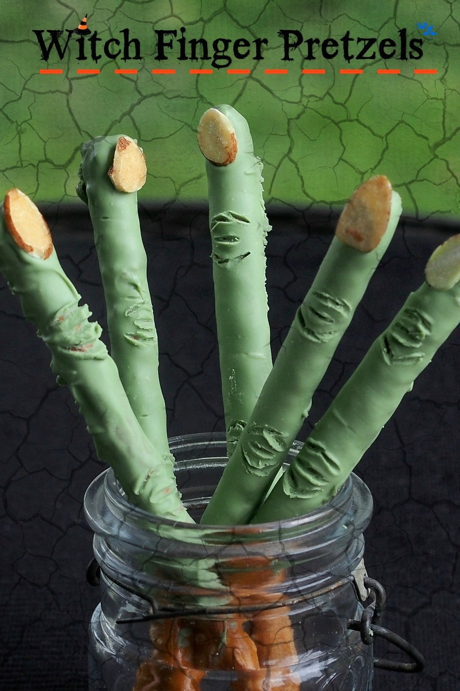 Witch Finger Pretzels - no Halloween party is complete without these fun and easy treats. simplysated.com