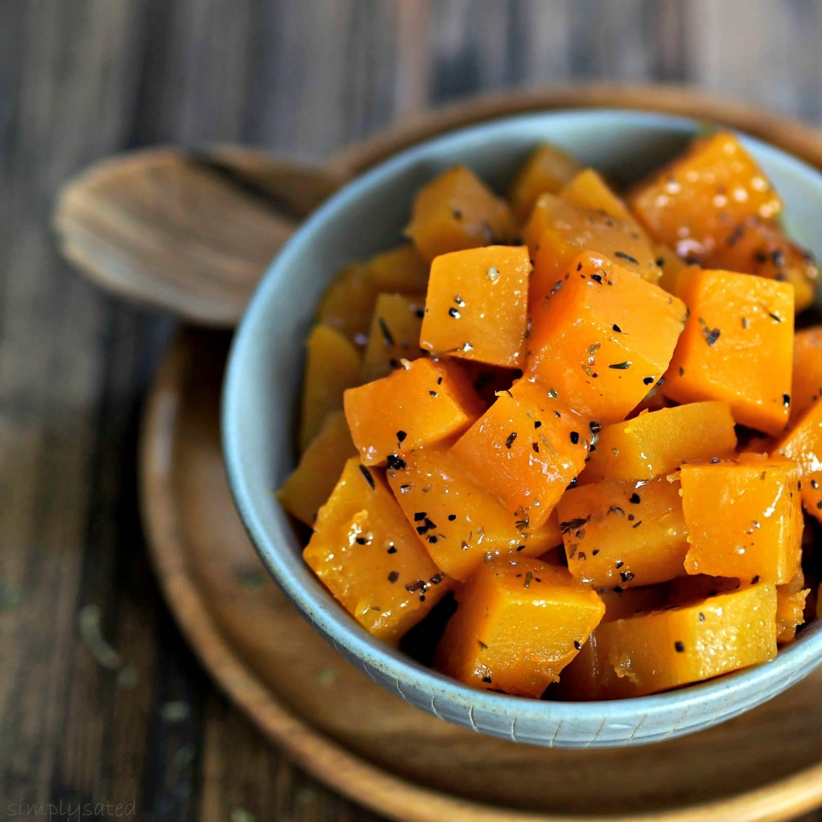 Cider-Glazed Butternut Squash with apple cider, brown sugar, ginger, bouquet garni & a touch of Southern Comfort. Simply Sated