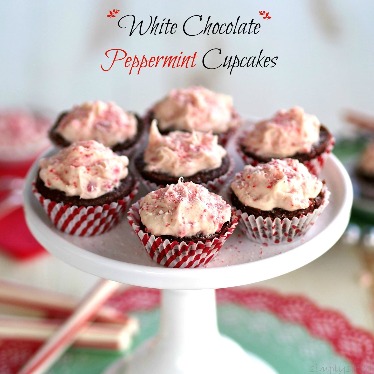 White Chocolate Peppermint Chocolate Cupcakes -Velvety chocolate cupcakes with easy white chocolate, peppermint icing.