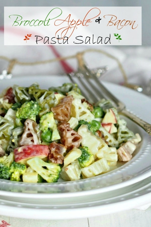 Broccoli Apple & Bacon Pasta Salad has something for everyone. Crunchy broccoli, sweet apple, salty bacon, perfect pasta and a sweet, tangy dressing. Simply Sated