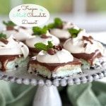 Frozen Mint Chocolate Dessert-a perfect last course for a dinner party or family dinner. Oreo crust layered with mint chocolate ice cream & whipped topping. Simply Sated