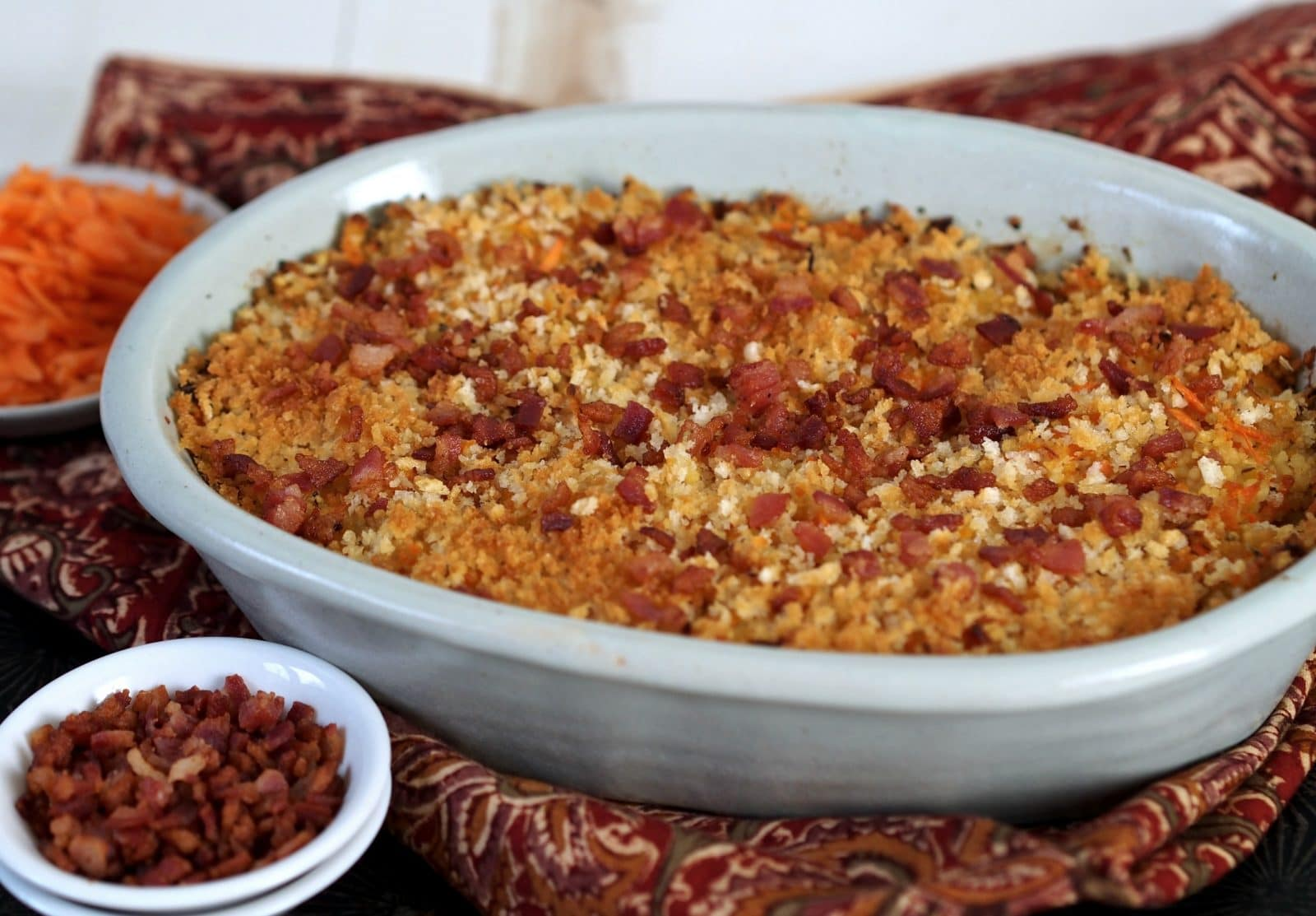 Honey Goat Cheese Carrot & Couscous Casserole is a delicious, healthier alternative to cheese-laden casseroles. Simply Sated