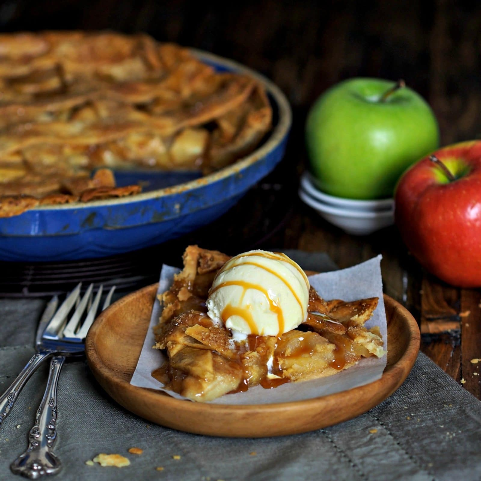 Salted Caramel Apple Tart (made the easy way) with store-bought Salted Caramel Sauce & pie crust is as easy as can be. Sweet/salty/delicious. Simply Sated