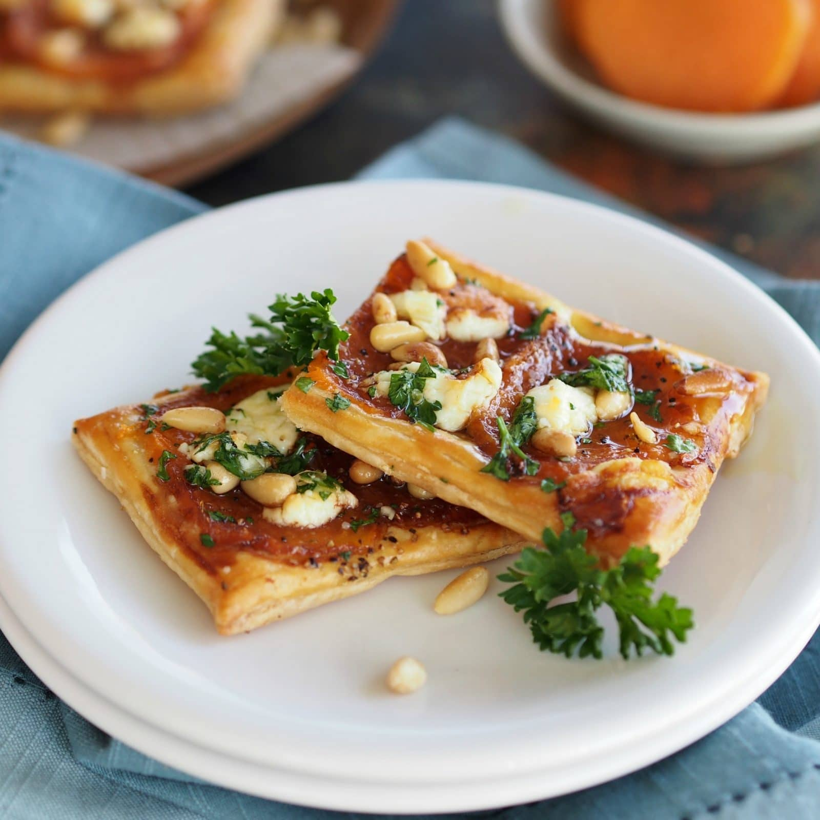 Sweet Potato & Honey Goat Cheese Pizza is just as delicious made with freshly baked sweet potatoes or even leftover sweet potatoes from Thanksgiving.