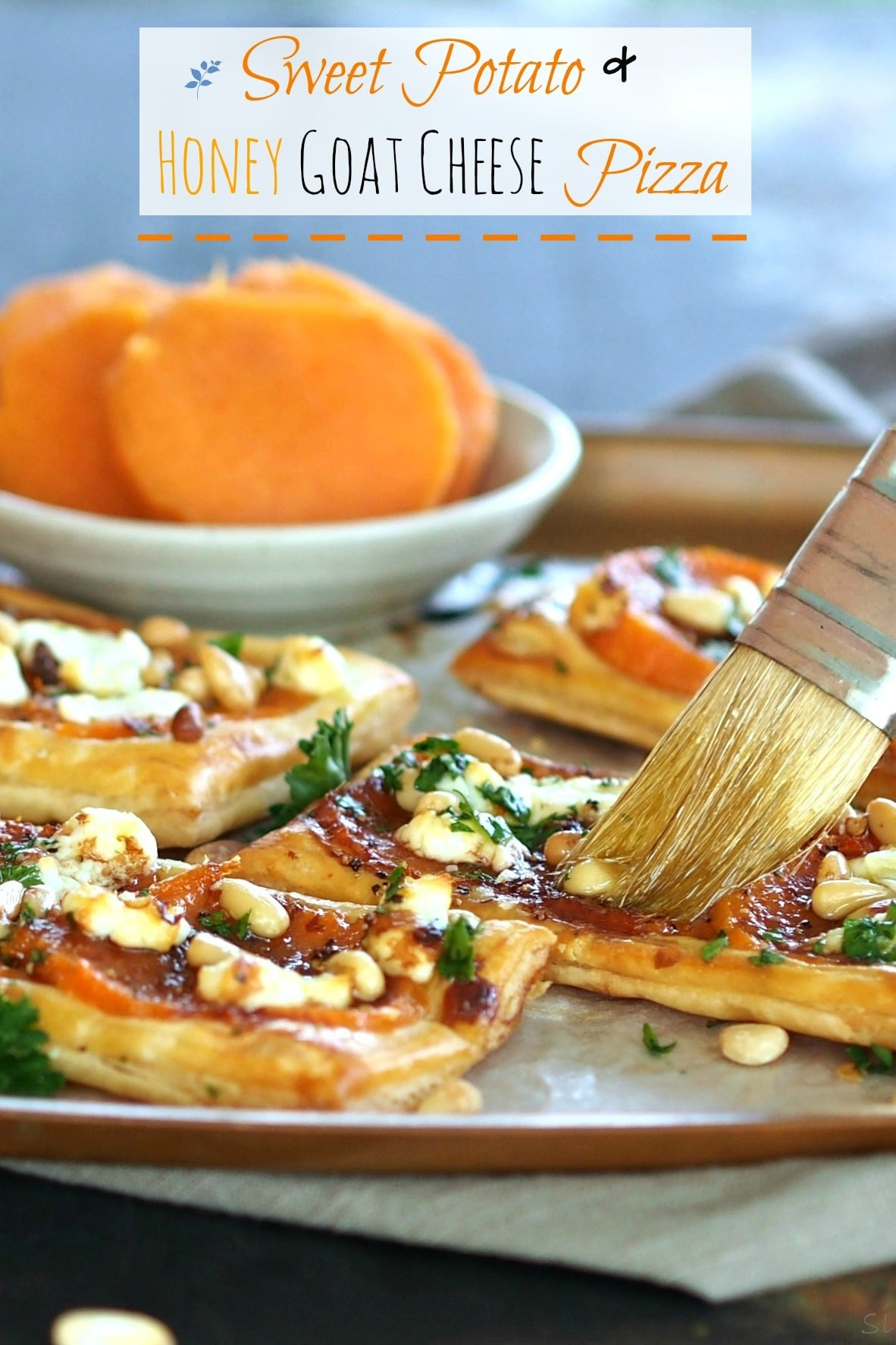 Sweet Potato & Honey Goat Cheese Pizza - Simply Sated