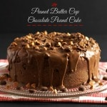 Peanut Butter Cup Chocolate Pound Cake-chocolate pound cake with chopped peanut butter cups & topped with peanut butter cup frosting. Simply Sated