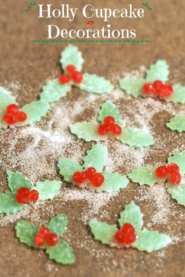 Holly Cupcake Decorations made with JuJu Candy, Dots Candy or Gumdrops rolled flat & cut into shapes. Cake, cupcake & cookie decorating has never been easier. Simply Sated