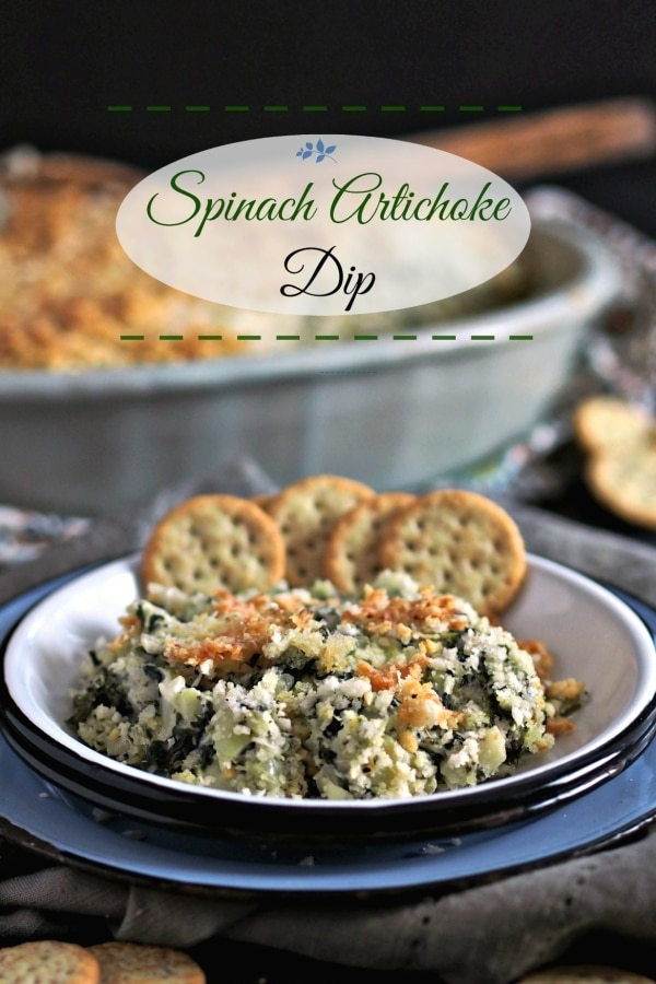 Spinach Artichoke Dip. A blend of four cheeses, water chestnuts for crunch, a touch of heat with red pepper and lemon juice to brighten things up. Enjoy! Simply Sated