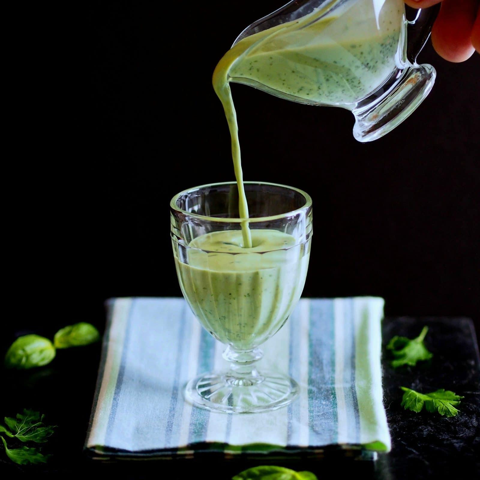 "Basil Green Goddess Dressing - a dressing fit for Gods & Goddesses. Basil, parsley & yogurt all ""dressed"" up with lemon, cloves, green onion & seasonings. simply sated"