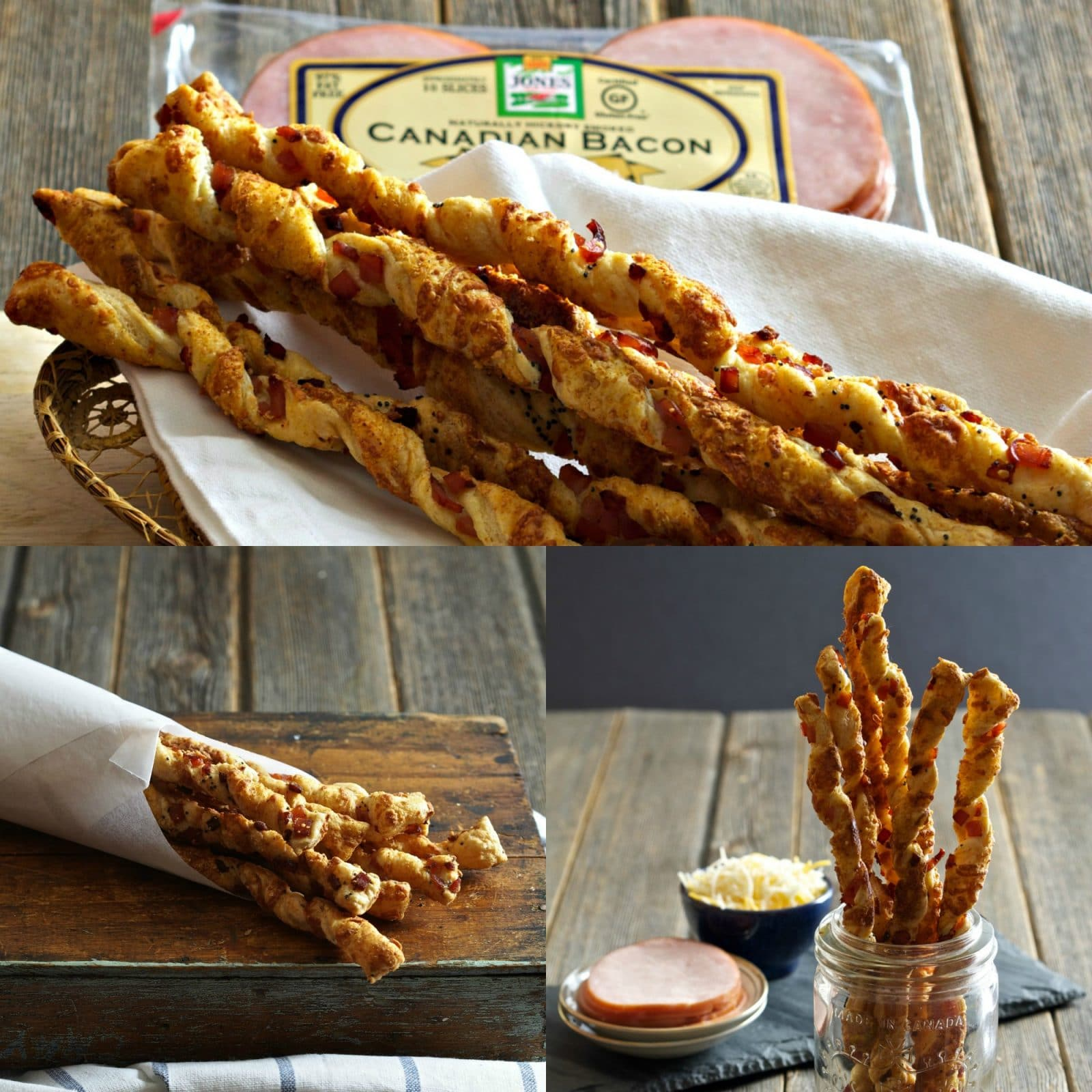 """Canadian Bacon Cheese Straws-easy to make, elegant and delicious -the first appetizer to disappear at any dinner party.  A great """"bread"""" with a salad. Simply Sated"""