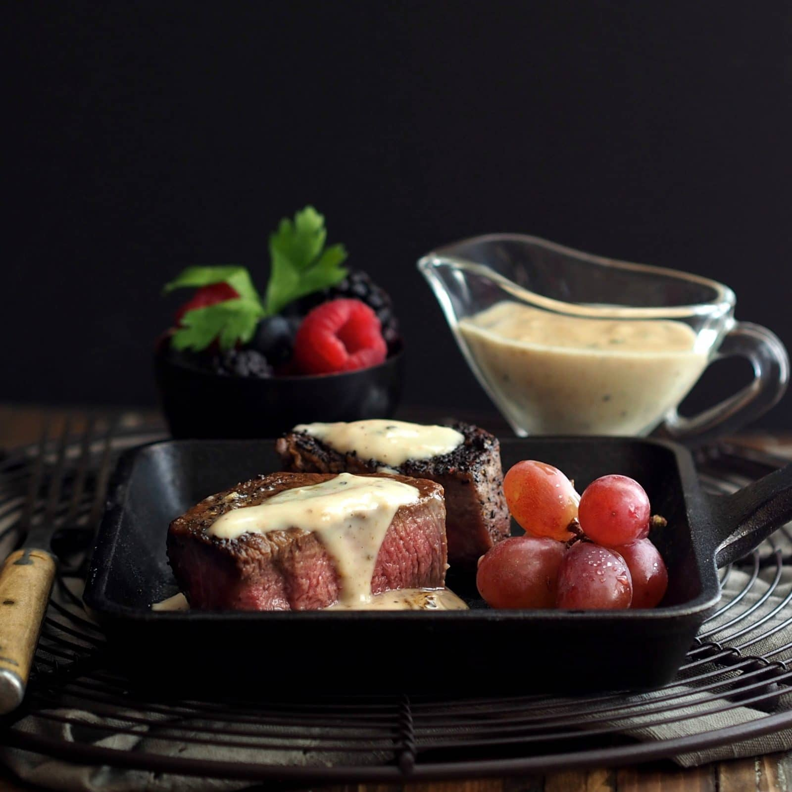 Brandy Peppercorn Sauce with Parmesan. THE sauce to take your steak from great to amazing. The perfect sauce to serve with beef filet or beef tenderloin. simply sated