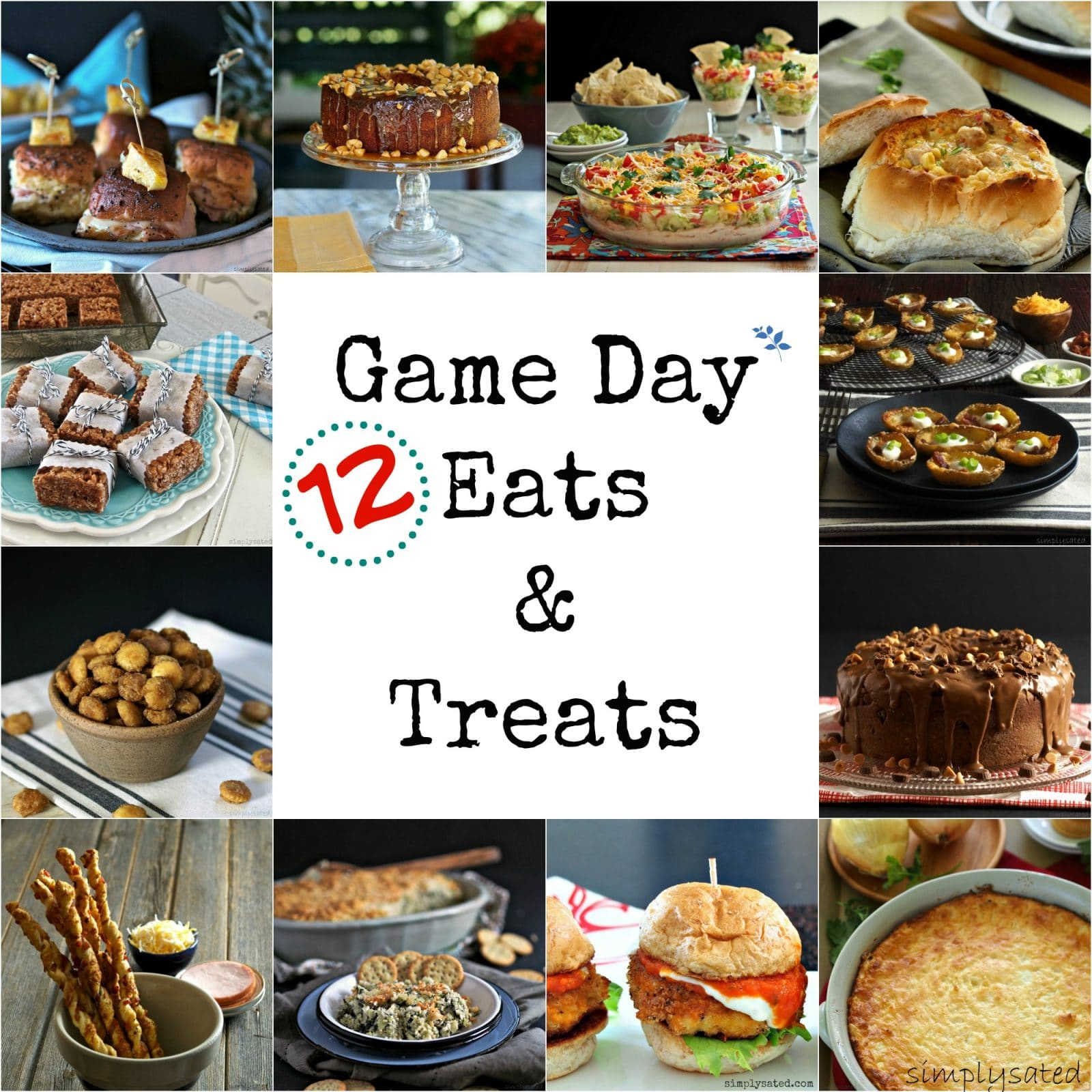 "Game Day Eats & Treats. 12 delicious recipes to ""wow the crowd"" at your next sport's party. From entrees to salads to sweets - all are sure to please. Simply Sated"
