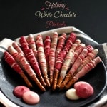 Holiday White Chocolate Pretzels - an easy, tasty and cute treat for any occasion or holiday and for any time of the year. Choose the colors and have fun. simply sated