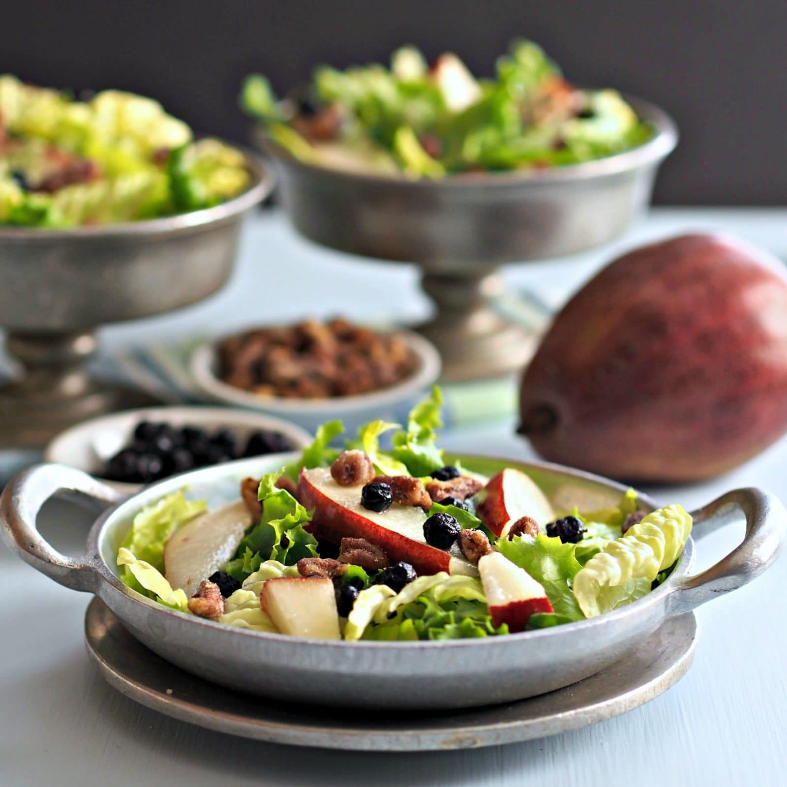 Pecans Blueberries Pears & Greens Salad is fresh, crunchy & flavorful. Top with homemade Basil Green Goddess Dressing to create a goddess-worthy salad. Simply Sated