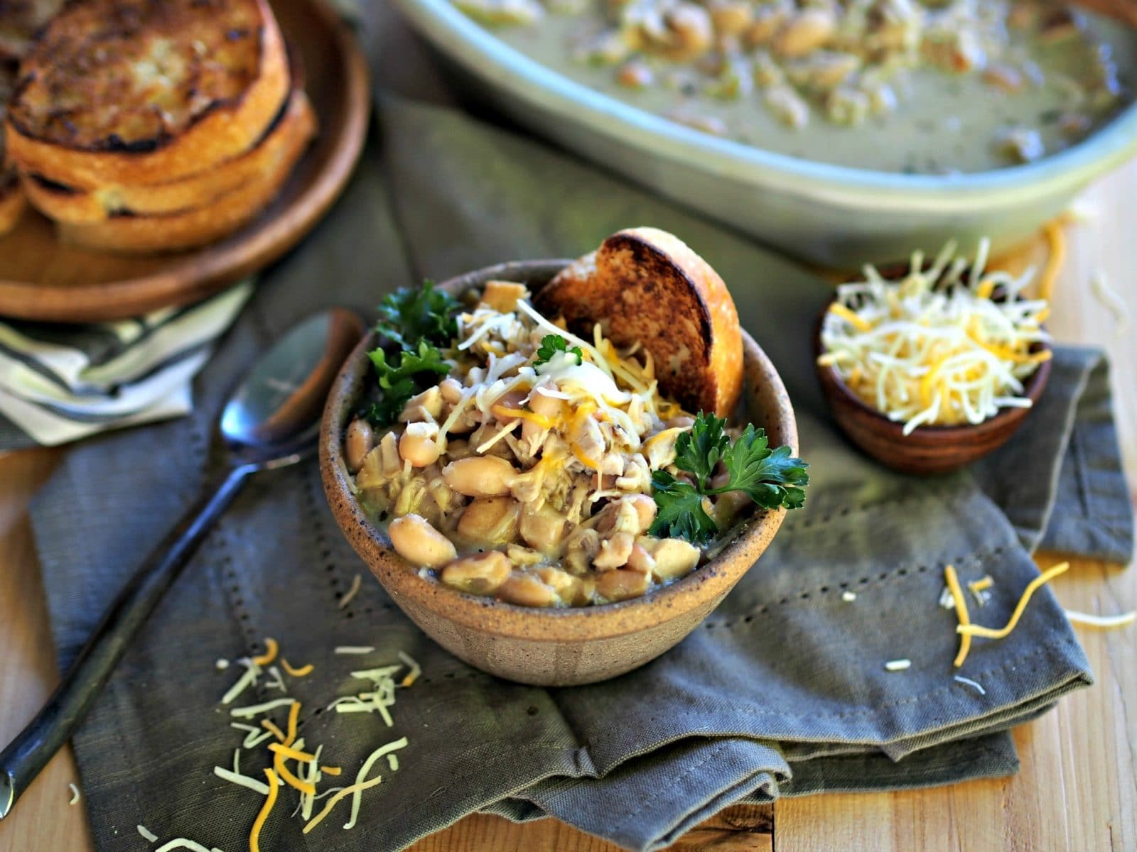 White Chicken Chili - all the flavors for terrific white chili: tender chicken, Mexican spices & fresh herbs, beer, beans and one very special ingredient. Simply Sated