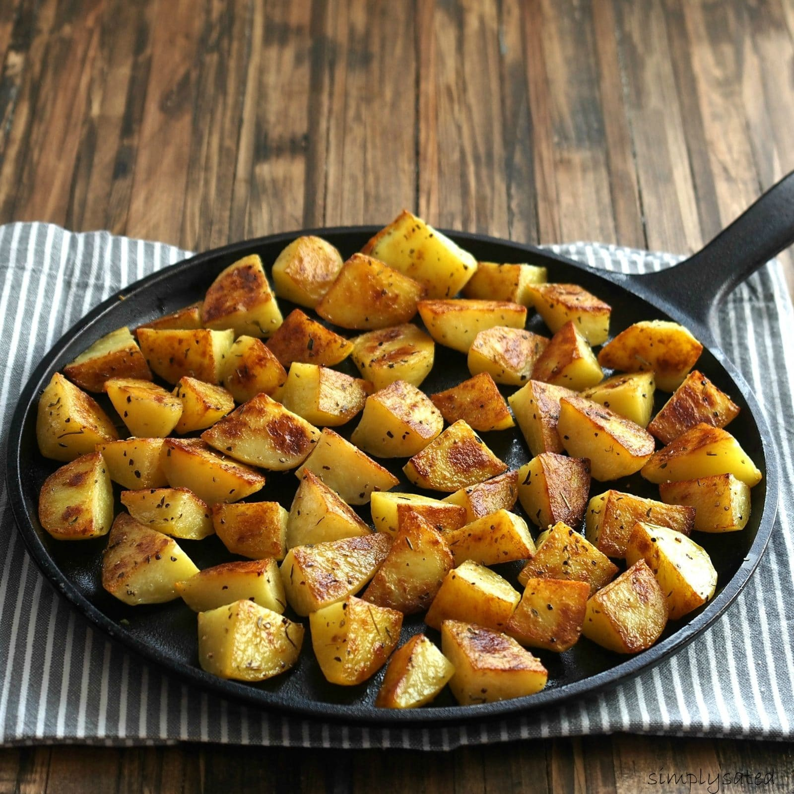 Roasted Potatoes. Simple recipes are the best. Peeled potatoes drizzled with olive oil, sprinkled with favorite seasoning and roasted to perfection. Simply Sated