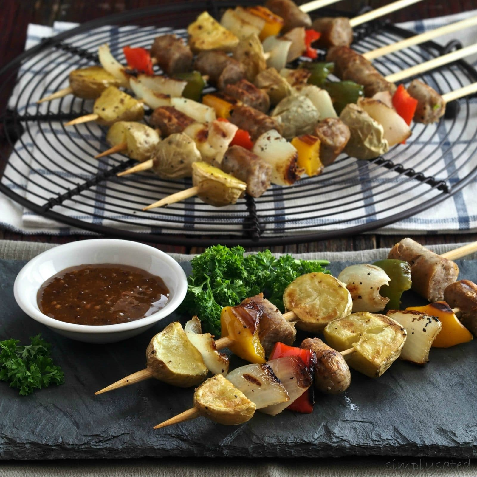 Savory Breakfast Kebabs - Jones Dairy Farm Little Pork Sausages, roasted sweet peppers, onions & peppers threaded on bamboo skewers. Breakfast-on-a-stick. Simply Sated