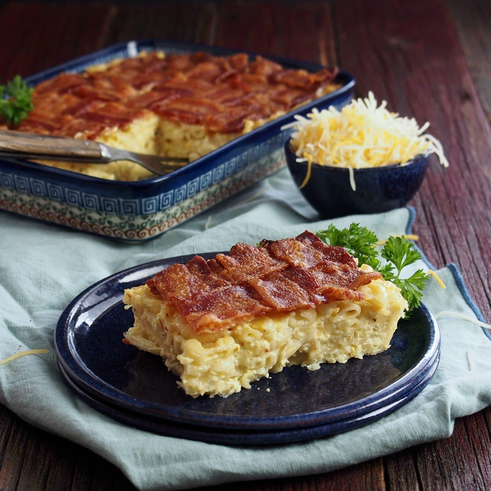 Macaroni & Cheese Quiche with Latticed Bacon