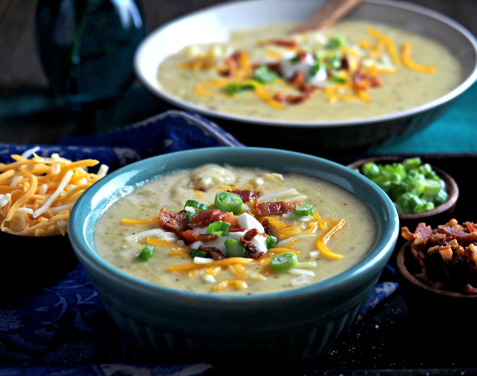Three-Cheese Baked Potato Soup. THE perfect potato soup with a combination of white cheddar, Colby Jack & Gruyere cheese. This soup is simply the best. Simply Sated