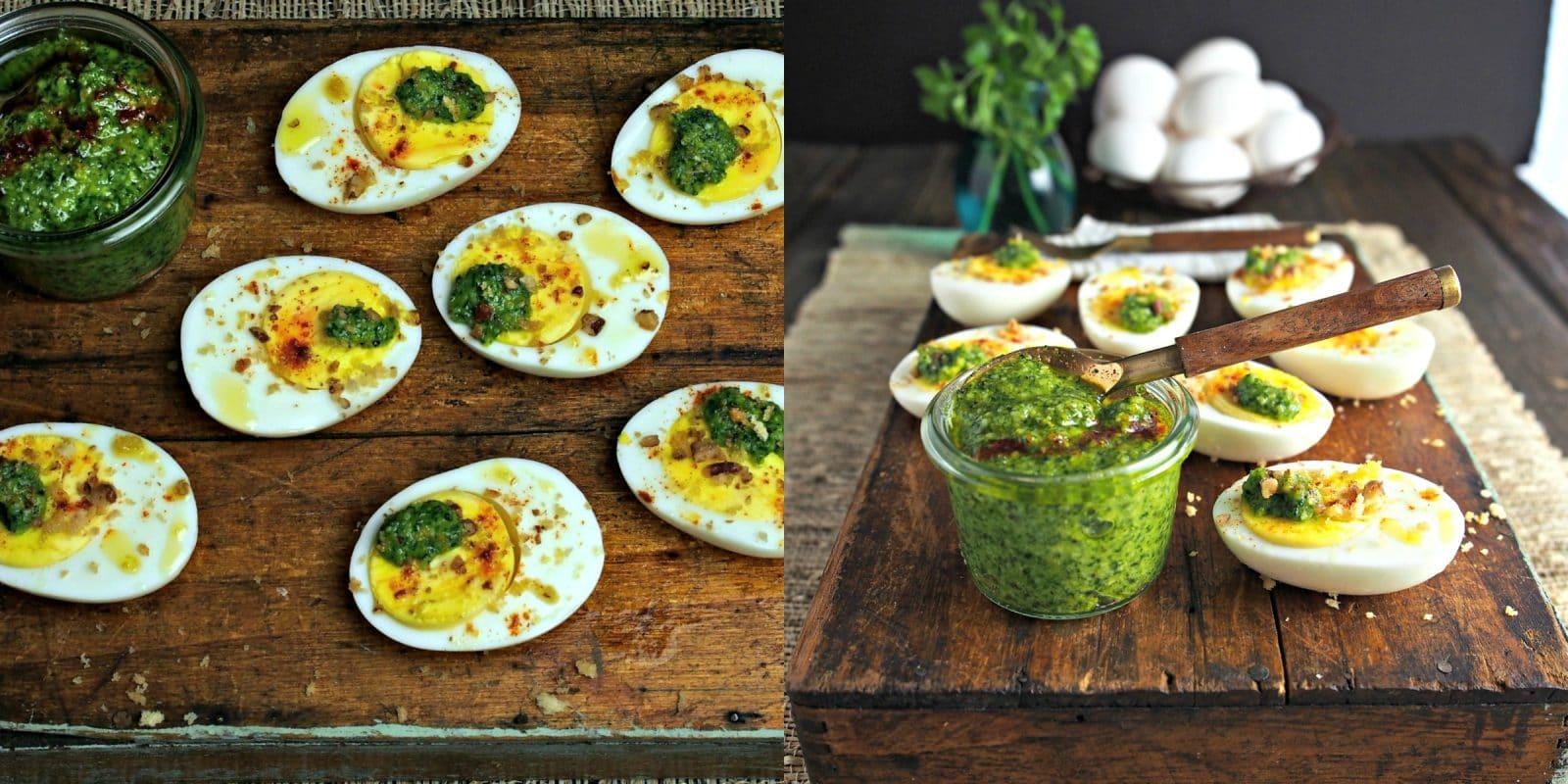 Pesto on Eggs topped with Sugared Pecans is a delicious and beautiful way to serve hard-cooked eggs. Pesto, eggs, smoked paprika, sugared pecans & Panko. Simply Sated