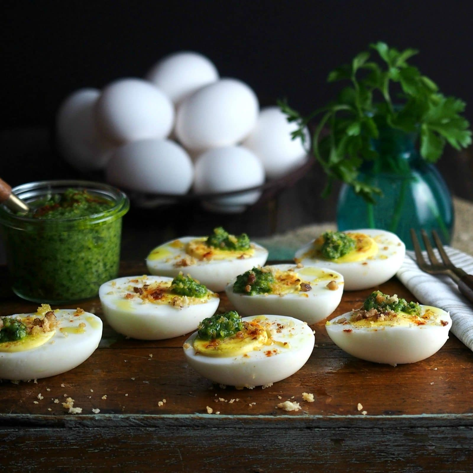 Pesto On Eggs Topped With Sugared Pecans Is A Delicious And Beautiful Way  To Serve Hard