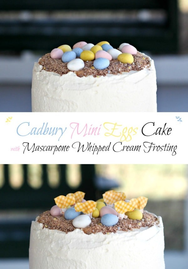 Cadbury Mini Eggs Cake with Mascarpone Whipped Cream. Layers of white cake married with Mascarpone Whipped Cream Frosting mixed w/crushed Cadbury Mini Eggs. Simply Sated