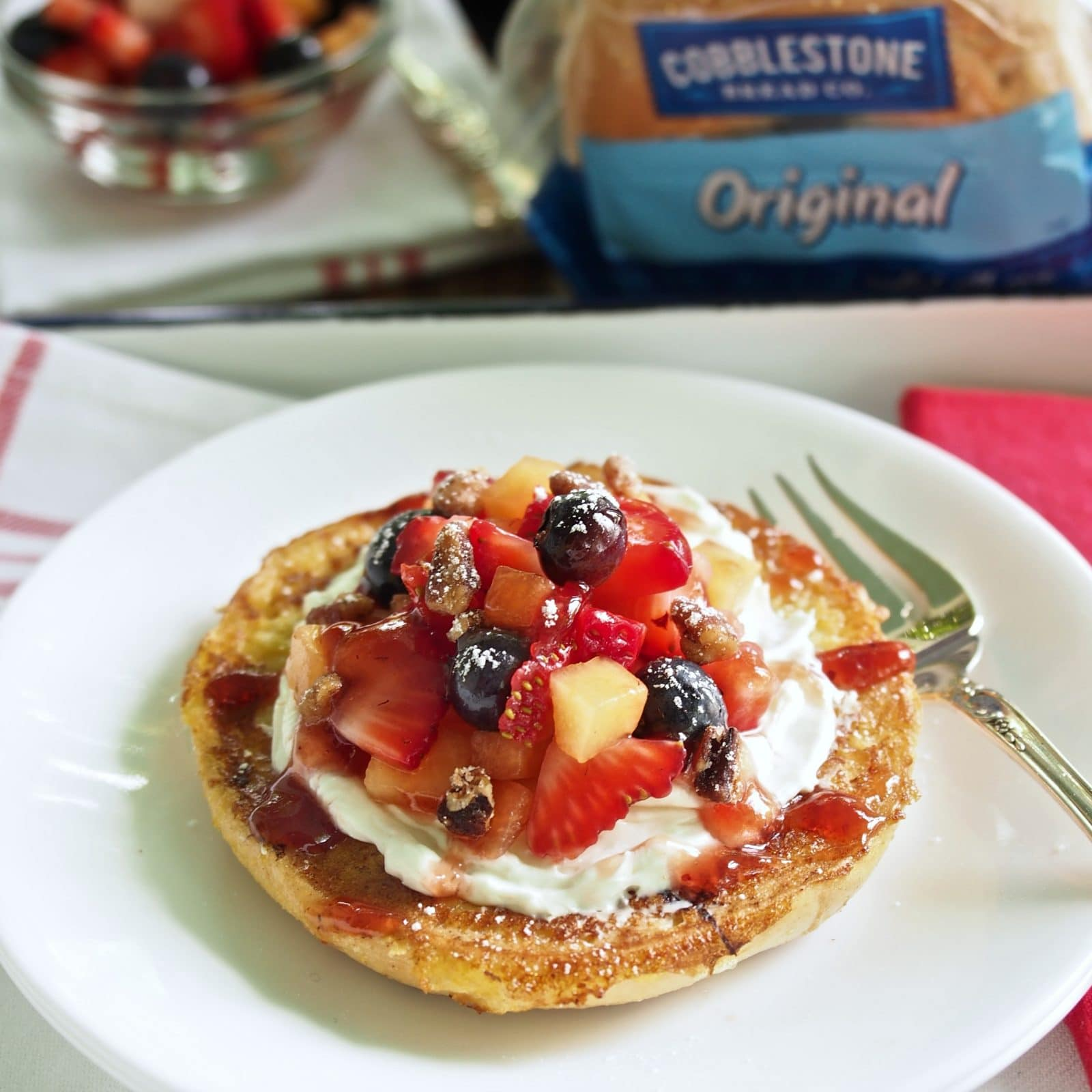 Berry-Topped French Toast Bagels w/Cobblestone Bread Co. Bagels-a great way to start the day. French toasted bagels topped w/fresh berries & cream cheese. Simply Sated